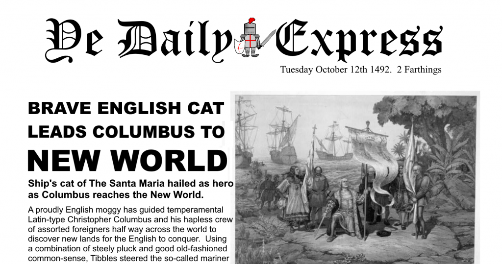 Daily Express Christopher Columbus Satire