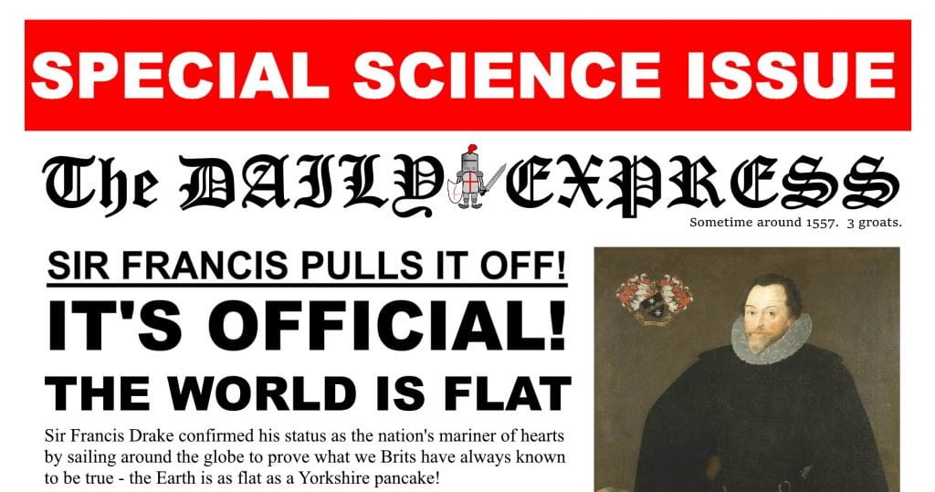 Daily Express Science Special Sir Francis Drake Satire
