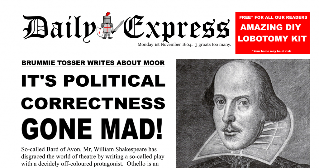 Political Correctness Gone Mad Dily Express Shakespeare Satire