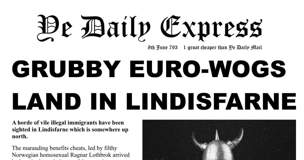 The Daily Express covers the Viking landing at Lindisfarne