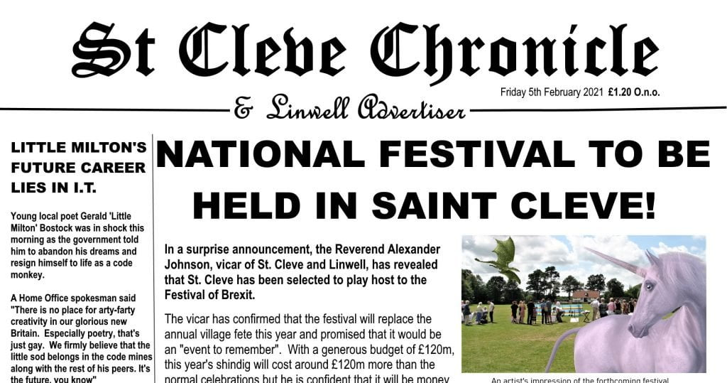 festival of brexit st cleve chronicle daily distress satire