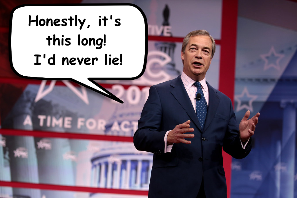 Nigel exaggerates the size of his cock in The Poxhole News