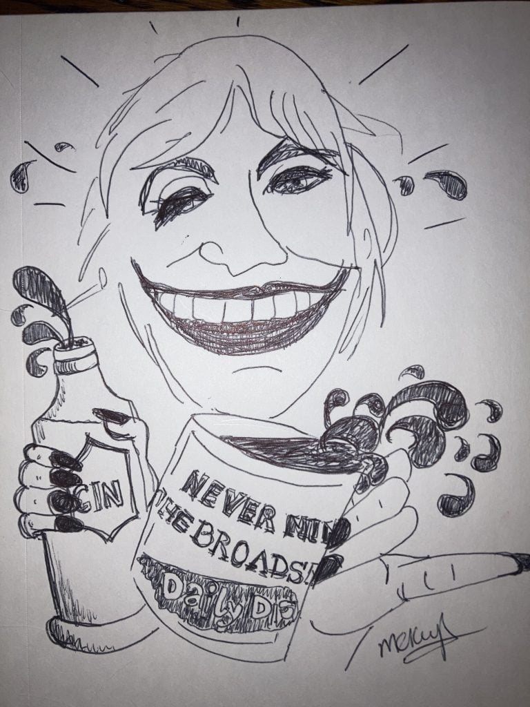 Nadine Dorries drinks gin from a Daily Distrss mug