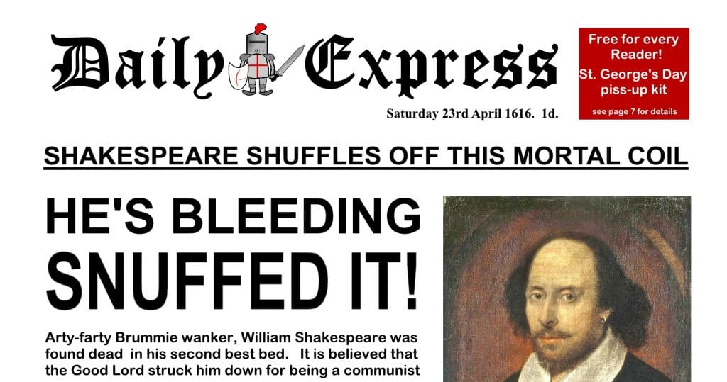The Daily Express Today and Yesterday - Shakespeare Dies